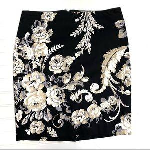 WHBM sz 4 black floral pencil skirt